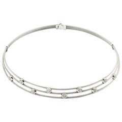 Charriol Diamond Classique Three-Row Choker Stainless Steel and White Gold