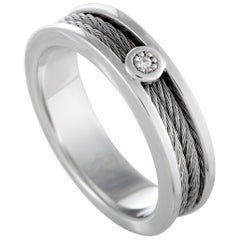 Charriol Engagement Sterling Silver and Stainless Steel Diamond Cable Band Ring