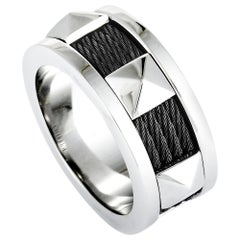 Charriol Forever Stainless Steel and Black PVD Cable Band Ring
