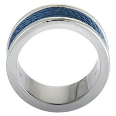 Charriol Forever Stainless Steel and Blue PVD Cable Band Ring