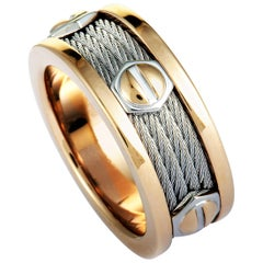 Charriol Forever Stainless Steel and Rose PVD Screws Cable Band Ring
