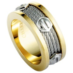 Charriol Forever Stainless Steel and Yellow PVD Screws Cable Band Ring