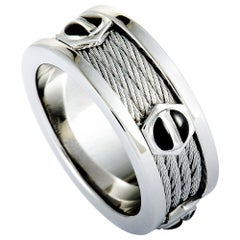 Charriol Forever Stainless Steel Black PVD Screws Cable Band Ring