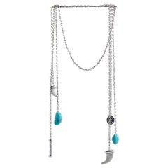 Charriol Kucha Stainless Steel Two Turquoise and Horn Pendants Open End Necklace