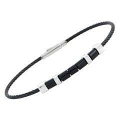 Charriol Laetitia Stainless Steel and Black PVD Black Agate Bangle Bracelet Size