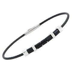 Charriol Laetitia Stainless Steel and Black PVD Black Agate Bracelet Size XL