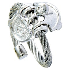 Charriol My Heart Stainless Steel and White Cubic Zirconia Cable Band Ring