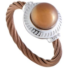Charriol Pearl Stainless Steel and Bronze PVD Brown Pearl Round Cable Ring