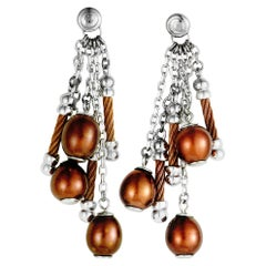 Charriol Pearl Stainless Steel and Bronze PVD Brown Pearls Dangle Earrings