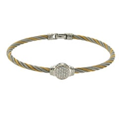 Charriol Philippe 18 Karat Gold and Tow-Tone Steel Diamonds Cable Bracelet