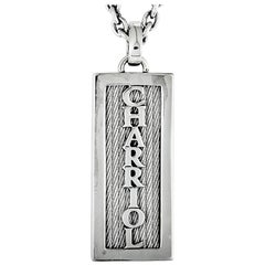 Charriol Plaque Stainless Steel Cable Plaque Pendant Necklace