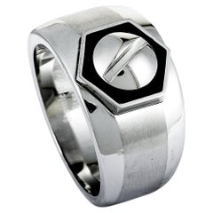 Charriol Rotonde Stainless Steel Black Epoxy Band Ring