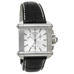 Charriol Silver Stainless Steel Leather Chronograph Actor CCHCXL Men's Wristwatc