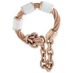Charriol St. Tropez Stainless Steel and Pink PVD White Enamel Cable and Chain