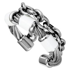 Charriol St. Tropez Stainless Steel White Enamel Cable and Chain Band Ring