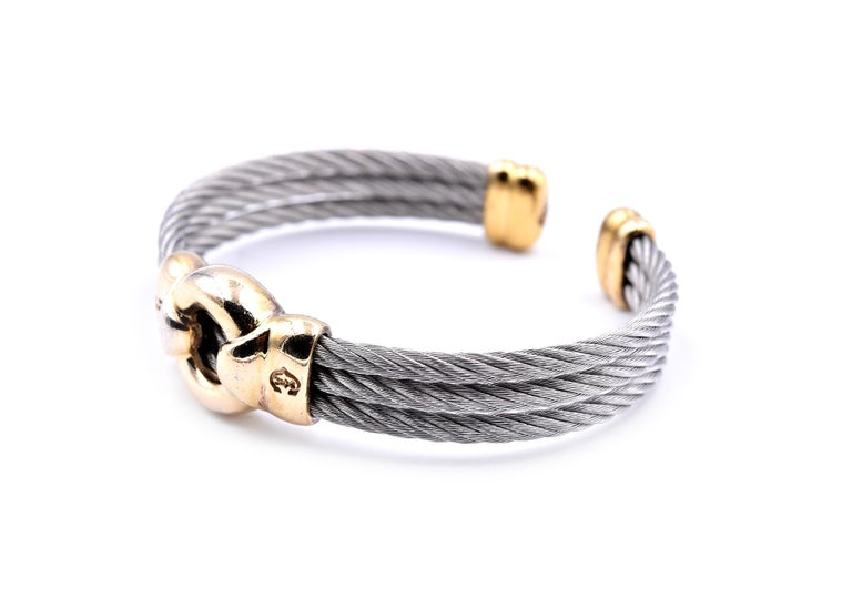 Charriol Two-Tone Cuff Cable Bracelet In Excellent Condition For Sale In Scottsdale, AZ