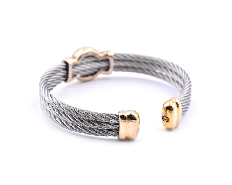 Women's Charriol Two-Tone Cuff Cable Bracelet For Sale