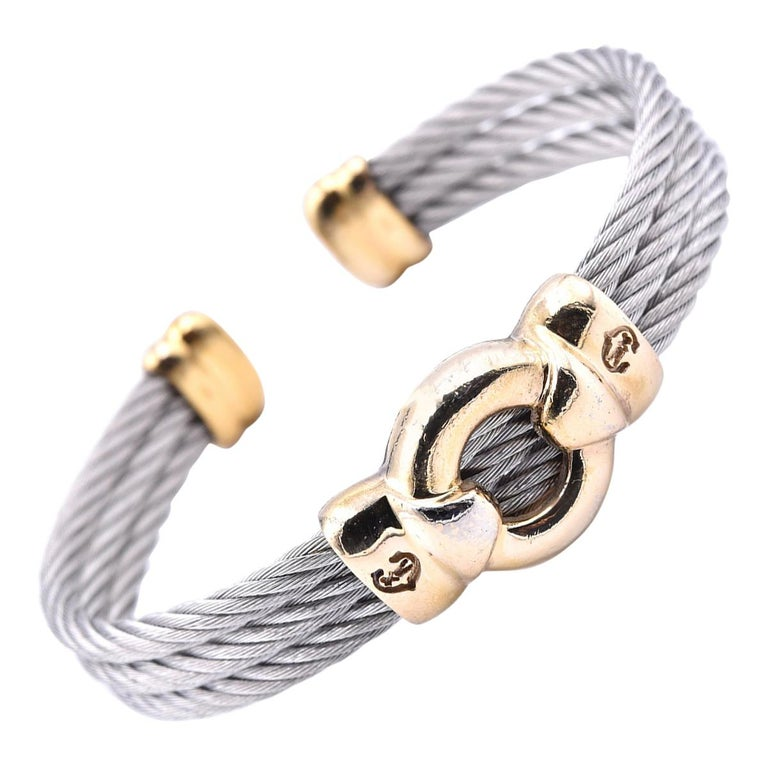 Charriol Two-Tone Cuff Cable Bracelet For Sale