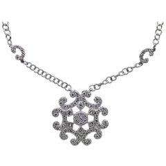 Charriol White Gold Round Diamond Snowflake Choker Necklace