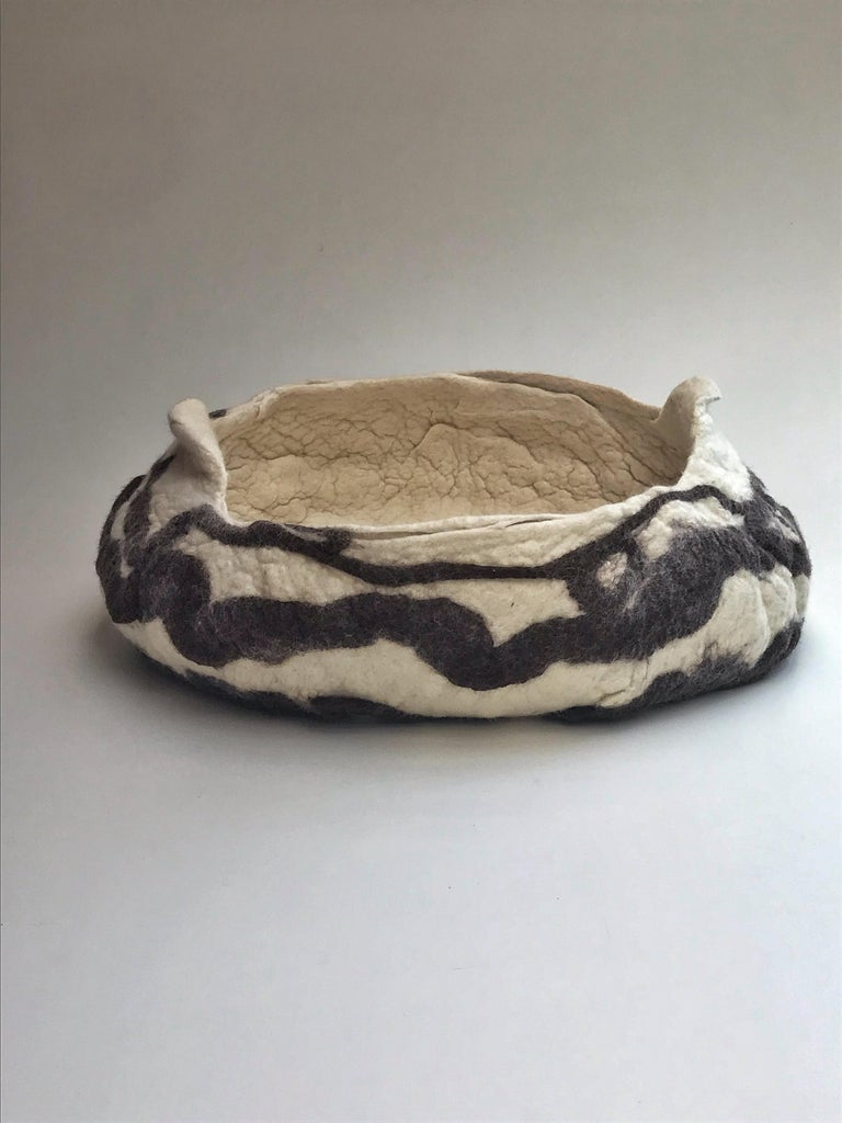 """Hand-Crafted """"Charrua"""" Felted Wool Vase in Natural Colors by Inês Schertel, Brazil, 2019 For Sale"""
