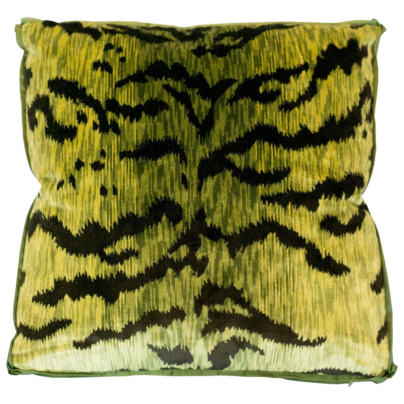 Chartreuse Green Bevilacqua Tiger Silk Velvet Pillows by Studio Maison Nurita