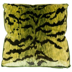 Chartreuse Green Bevilacqua Tiger Silk Velvet Pillows by Studio Maison Nurita