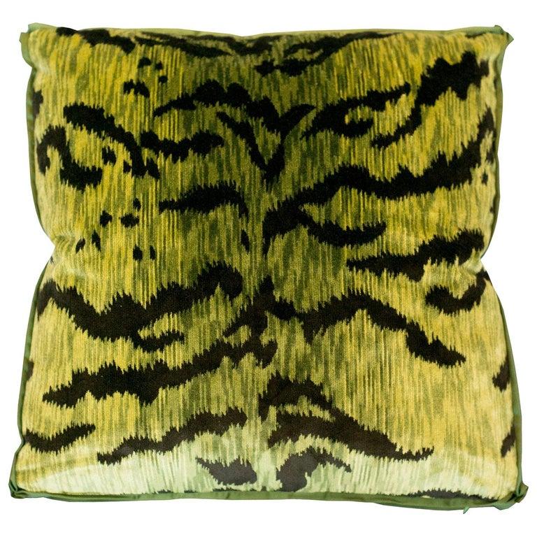 Chartreuse Green Bevilacqua Tiger Silk Velvet Pillows by Studio Maison Nurita For Sale