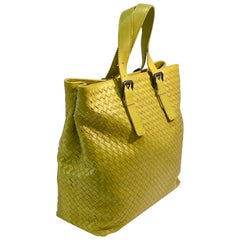 Chartreuse Green Bottega Veneta Intrecciato Woven Leather Very Large Tote Purse