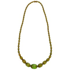 Chartreuse Green Resin Diamond Faceted Necklace Vintage