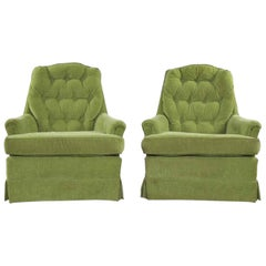 Chartreuse Green Velvet Swivel Rocking Lounge Chairs with Button Back, a Pair