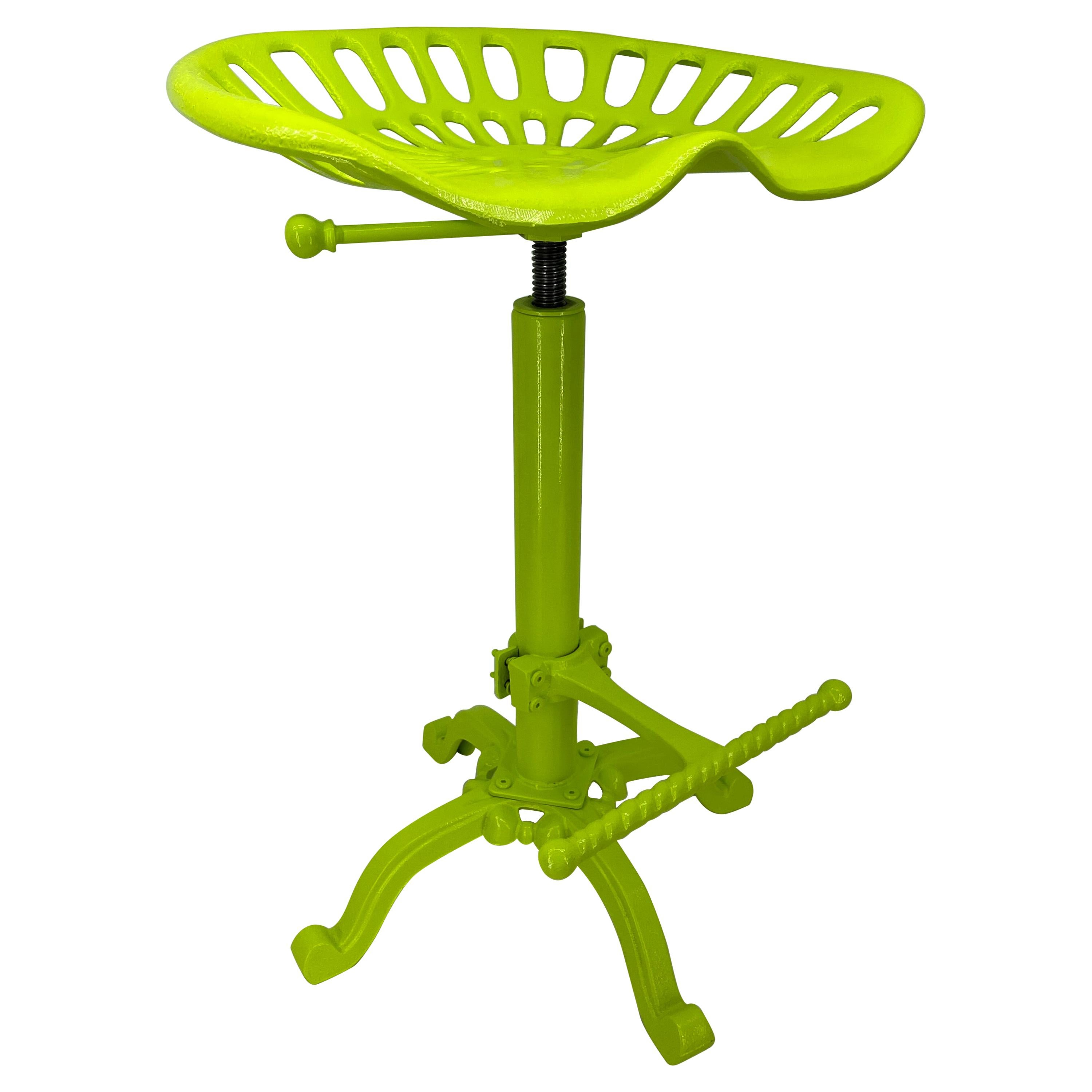 Chartreuse Painted Industrial Metal Tractor Seat Stool
