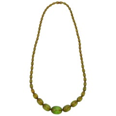 Chartreuse Resin Diamond Faceted Necklace Vintage