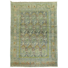 Chartruese Accent Persian Malayer Throw Paisley Motif Decorative Rug