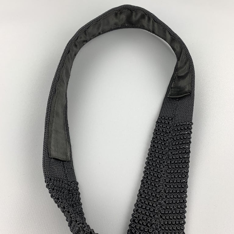 CHARVET Black Silk Textured Knit Tie In Excellent Condition For Sale In San Francisco, CA