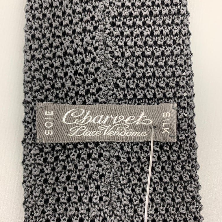 Men's CHARVET Black Silk Textured Knit Tie For Sale