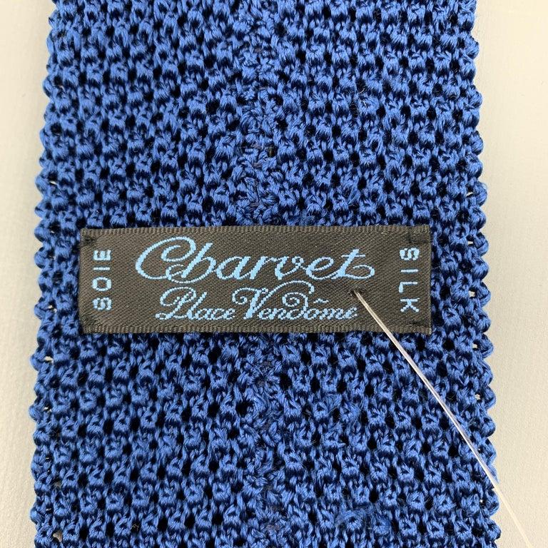 CHARVET Blue Silk Textured Knit Tie For Sale 1