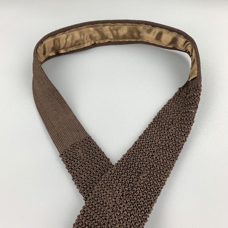 Men's CHARVET Brown Silk Textured Knit Tie For Sale