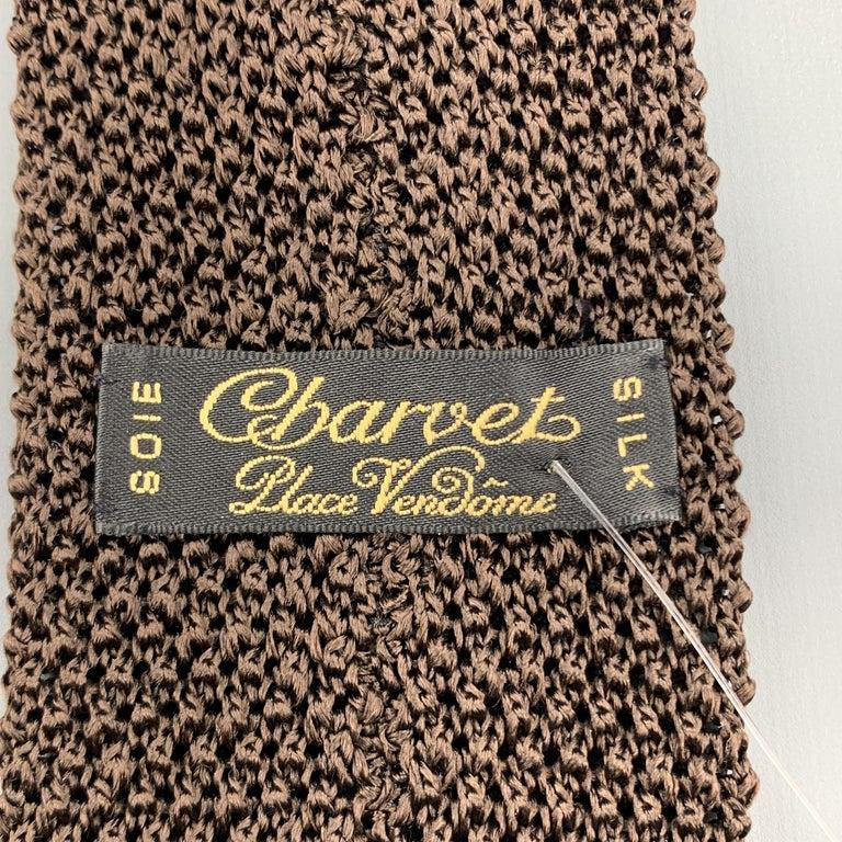 CHARVET Brown Silk Textured Knit Tie For Sale 1