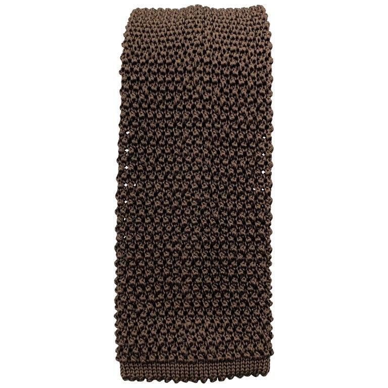 CHARVET Brown Silk Textured Knit Tie For Sale