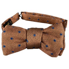 CHARVET Copper & Blue Dots Print Silk Bow Tie