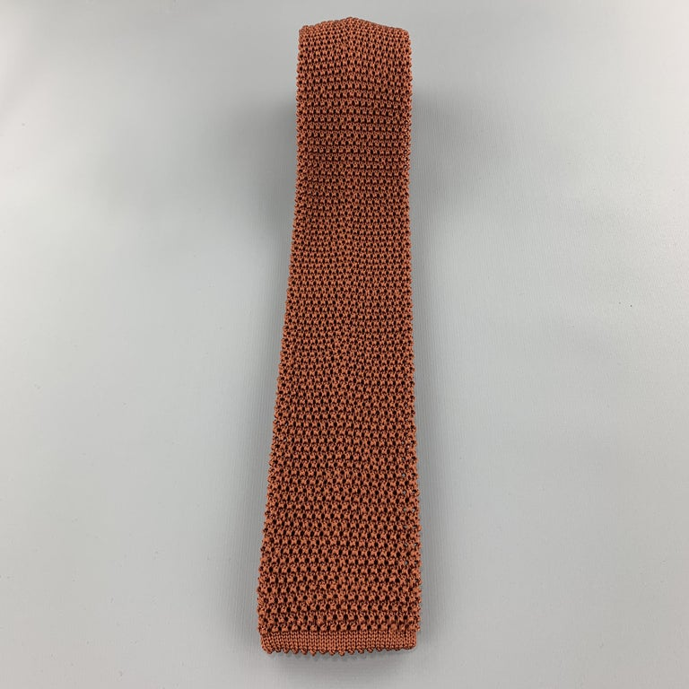 CHARVET Copper Brown Textured Knit Silk Tie In Excellent Condition For Sale In San Francisco, CA