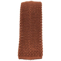 CHARVET Copper Brown Textured Knit Silk Tie