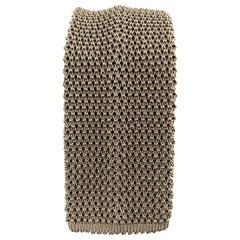 CHARVET Dark Taupe Silk Textured Knit Tie