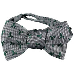 CHARVET Gray & Green Print Silk Bow Tie