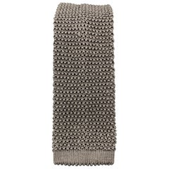 CHARVET Gray Silk Textured Knit Tie