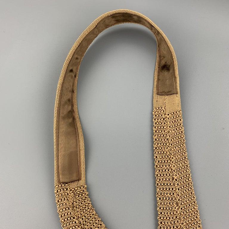 Men's CHARVET Khaki Beige Silk Textured Knit Tie For Sale
