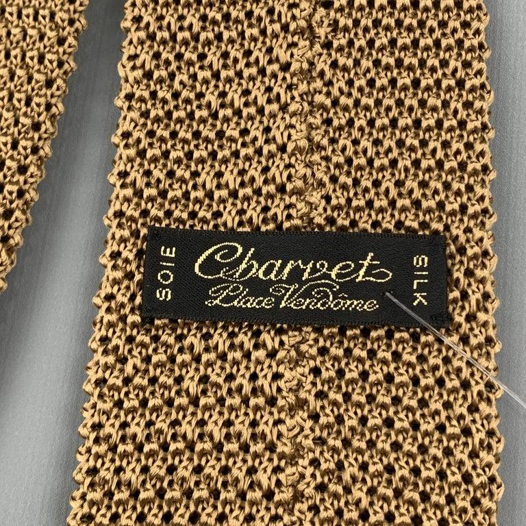 CHARVET Khaki Beige Silk Textured Knit Tie For Sale 1