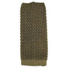 CHARVET Knitted Textured Olive Silk Tie