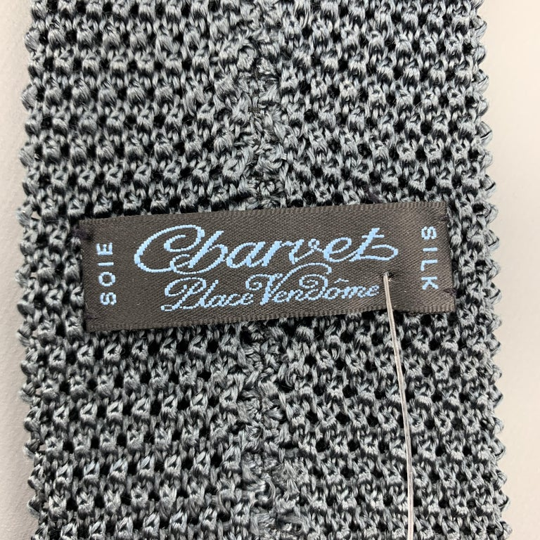 CHARVET Muted Gray Teal Silk Textured Knit Tie For Sale 1