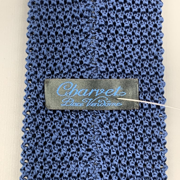 CHARVET Navy Silk Textured Knitted Tie For Sale 1